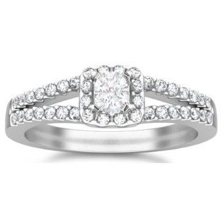 1.00 Carat Round Diamond Engagement Ring Bridal Set Wedding Ring on 10k White Gold FineTresor Jewelry