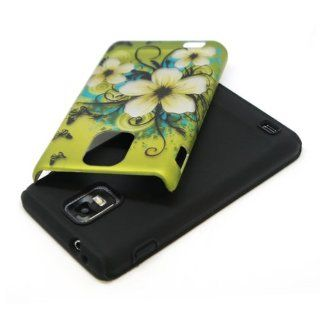 2in1 Hybrid Green Hawaiian Flower Black Butterfly Design Rubberized Hard Plastic Cover Case with Soft Silicone Rubber Skin for AT&T Samsung Infuse 4G i997 + LCD Screen Protector Film + Clear Phone Stand Cell Phones & Accessories