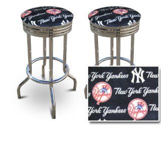 2 New York Yankees Baseball MLB Print Soft Specialty / Custom Barstools Set   Home Bars
