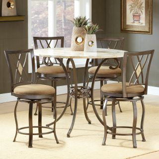 Hillsdale Brookside 5 Piece Counter Height Dining Table with Brookside Diamond Back Stools Powder Brown Coat   Dining Table Sets