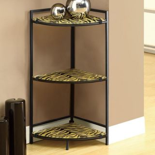 Monarch Black Metal Accent Table with Tiger Tempered Glass   End Tables