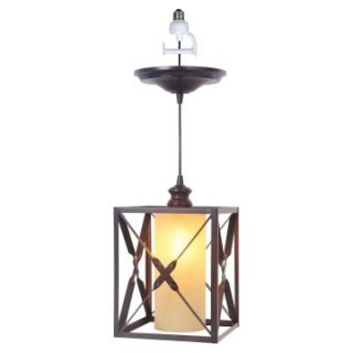 Worth Home Products Instant Pendant Light with Amber Suede Glass Shade   Brushed Bronze   Pendant Lighting