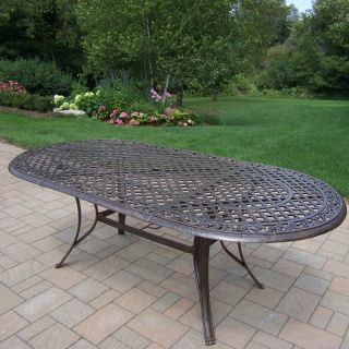 Oakland Living Mississippi Cast Aluminum 82 x 42 in. Oval Patio Dining Table   Patio Tables
