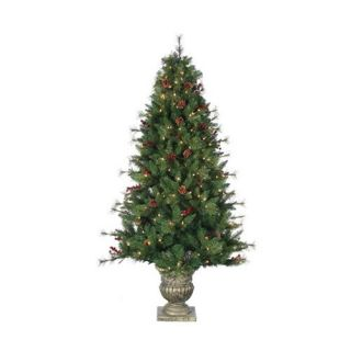 6 ft. Pre Lit Potted Alberta Spruce Christmas tree with Pinecones and Red Berries   Christmas Trees