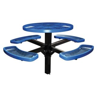 46 in. Single Post Expanded Metal Round Commercial Grade Picnic Table with Attached Benches   Commercial Picnic Tables