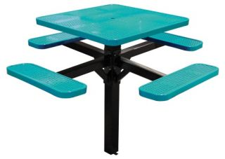 46 in. Single Post Perforated Square Commercial Grade Picnic Table with Attached Benches   Commercial Picnic Tables