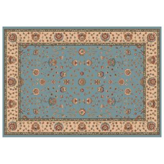 Dynamic Rugs Radiance Collection 47 x 24 Hearth Rug Blue Floral   Hearth Rugs