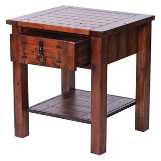 New Rustics Home Modern Lodge Collection Wood and Metal Square End Table   End Tables