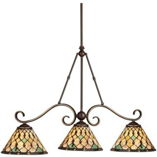 Kichler Pool Table Three Lights/Incandescent Island Light Oiled Bronze 36 inches   Billiard Lights