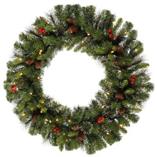 30 Inch Pre lit Mixed Pine Wreath   Christmas Wreaths