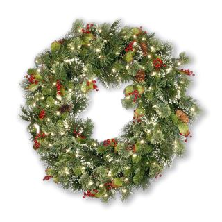 24 in. Wintry Pine Pre lit Wreath   Christmas Wreaths