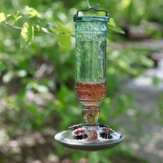 Avant Garden Antique Green Glass Hummingbird Feeder   Bird Feeders