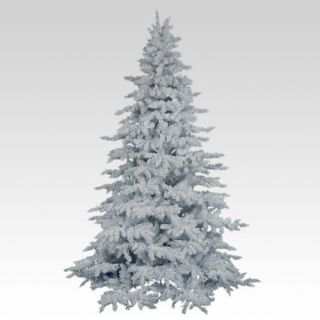 Flocked White Spruce Full Unlit Christmas Tree   Christmas Trees