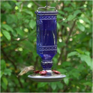 Perky Pet Cobalt Blue Antique Bottle Hummingbird Feeder   Bird Feeders