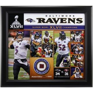 Baltimore Ravens 15 x 17 Super Bowl XLVII Champions Framed Team Photo Collage with Game Used Football Piece