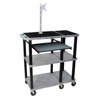 Luxor Extra Wide Laptop Presentation Cart with Monitor Mount   Computer Carts