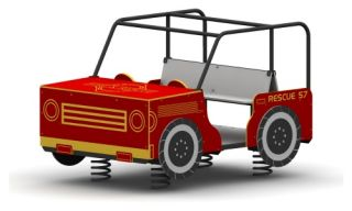 Child Forms Large Fire Truck on Springs   Outdoor Equipment