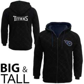 Pro Line Tennessee Titans Big Sizes Window Pane Sherpa Full Zip Hoodie   Black