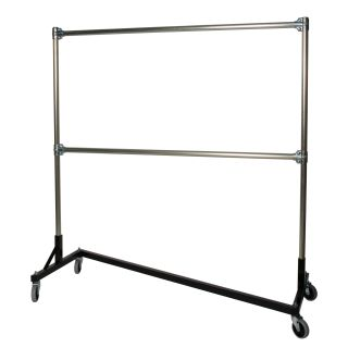Heavy Duty Steel 500 lb. Capacity Z Rolling Rack with 2 Hangrails   Closet Organizers