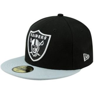 New Era Oakland Raiders Two Tone 59FIFTY Fitted Hat   Black/Silver