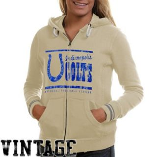 Mitchell & Ness Indianapolis Colts Ladies Vintage Full Zip Hoodie Sweatshirt   Cream