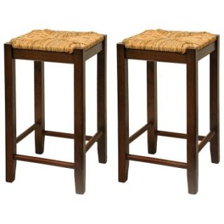 Winsome Wood 24 Inch Rush Seat Counter Stool   Walnut   Set of 2   Bar Stools