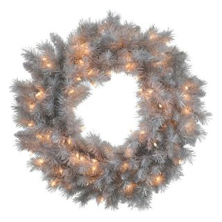 Vickerman Silver White Pre Lit Wreath   Clear Lights   Christmas Wreaths