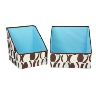 Household Essentials Accessory Bins   Geo Print   Brown with Blue   2 pk.   Home Magazine Racks