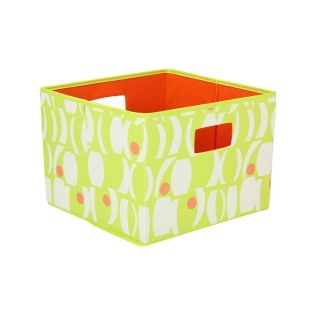 Household Essentials Open Storage Bin   Geo Print   Lime with Melon   Home Magazine Racks