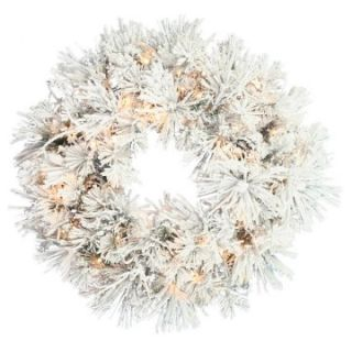 30 in. Flocked Swiss Pine Pre lit Christmas Wreath   Christmas Wreaths