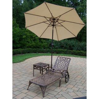 Oakland Living Mississippi Cast Aluminum Chaise Lounge with Side Table & Tilting Umbrella with Stand   Outdoor Chaise Lounges