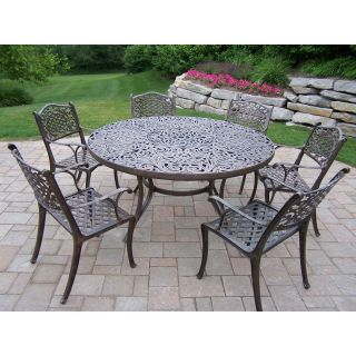 Oakland Living Mississippi Cast Aluminum 60 in. Patio Dining Set   Seats 6   Patio Dining Sets
