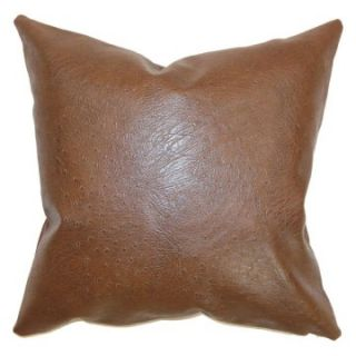The Pillow Collection Airlie Faux Leather Pillow   Brown   Decorative Pillows