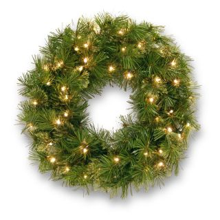 24 in. Wispy Willow Pre Lit Christmas Wreath   Christmas Wreaths