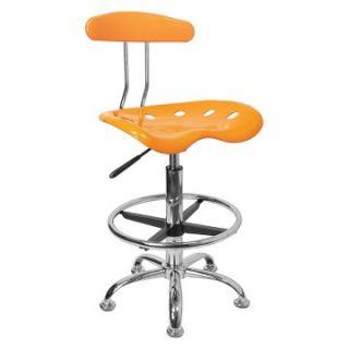 Vibrant Drafting Stool with Tractor Seat   Orange Yellow and Chrome   Drafting Chairs & Stools
