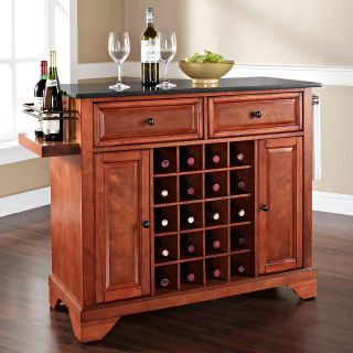 Crosley Lafayette Solid Black Granite Top Wine Island with Extended Corner Feet   Kitchen Islands and Carts