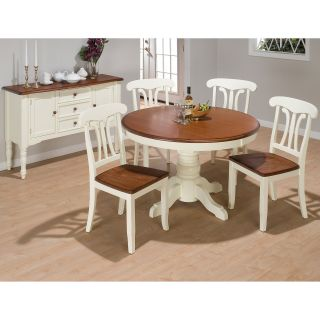 Woodbury 5 pc. Round Pedestal Dining Table Set   Vanilla & Brown Two Tone   Dining Table Sets