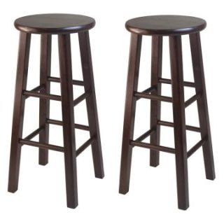 Winsome 29 in. Square Leg Bar Stool   Antique Walnut   Set of 2   Bar Stools