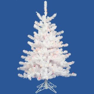 Pre lit Multi Light 4.5 ft. White Spruce Tree   Christmas Trees