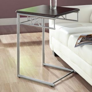 Monarch Square Metal Snack Table   Cappuccino / Silver   End Tables