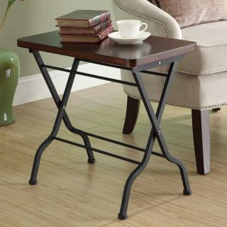 Monarch Rectangular Charcoal Black Metal Folding Accent Table with Cherry Top   End Tables