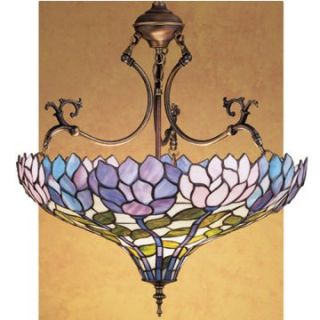 Meyda Wisteria Tiffany Inverted Pendant Light   20W in. Bronze   Tiffany Ceiling Lighting