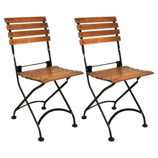 Furniture Designhouse European Cafe Chestnut Folding Side Chair   Set of 2   Bistro Chairs