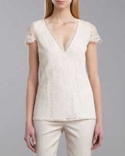 St. John Collection V Neck Cap Sleeve Lace Top, Porcelain/Cream
