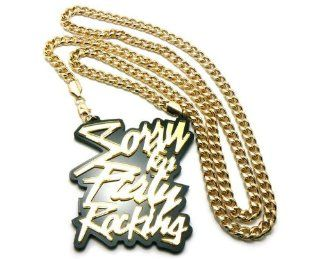 "Huge LMFAO Sorry for Party Rocking Anh?nger w/36"" Cuban Kette Gold Schmuck"