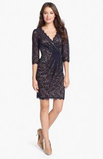 Adrianna Papell Lace Faux Wrap Dress (Petite)