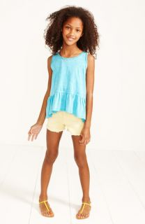 Project Social T Peplum Tank, Tractor Denim Shorts & Peek Sandal (Big Girls)
