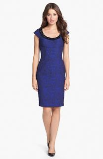 Adrianna Papell Embellished Brocade Sheath Dress