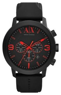 AX Armani Exchange Chronograph Silicone Strap Watch, 49mm