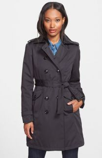 MICHAEL Michael Kors Faux Leather Trim Trench Coat (Petite) ( Exclusive)
